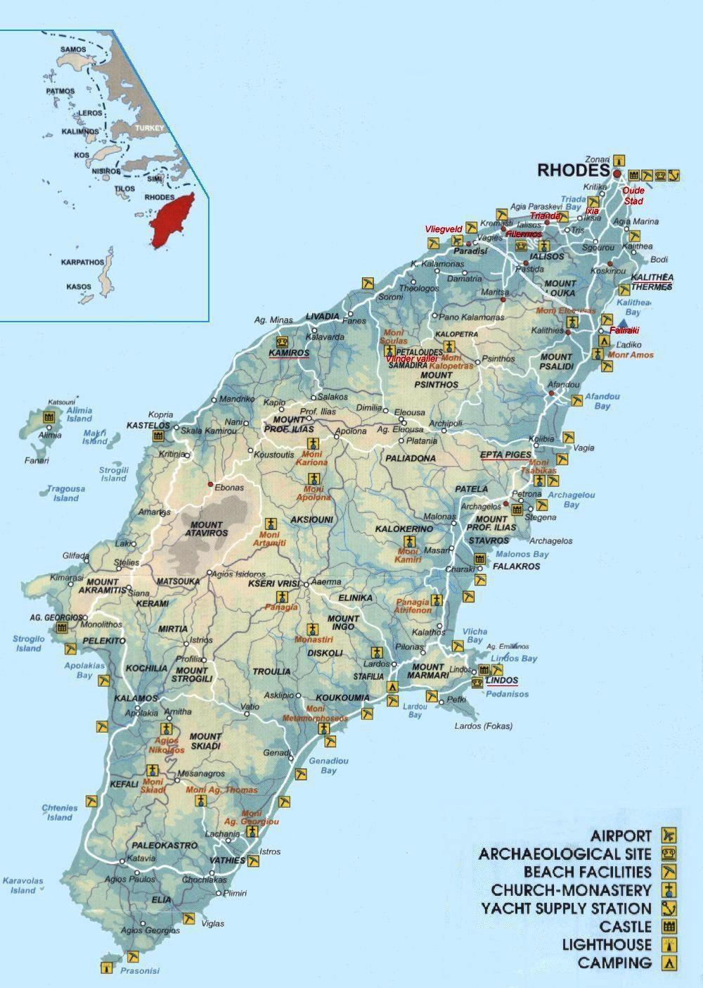 География Родоса - где находится Родос на карте мира ...