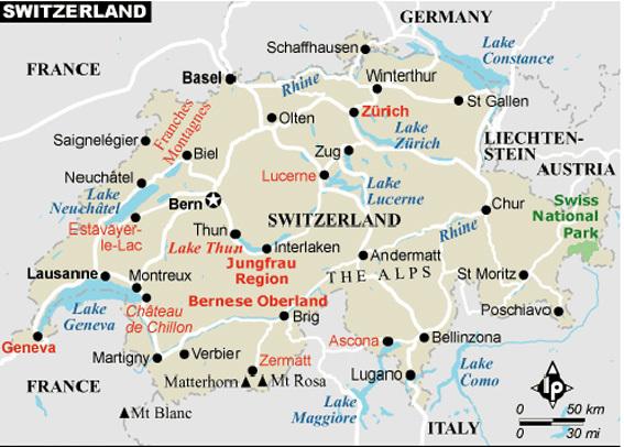 Карта курортов Швейцарии (124