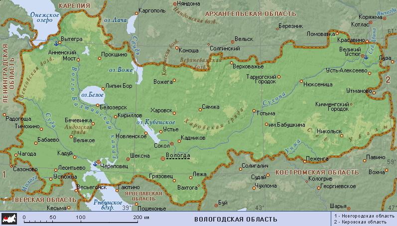 Вологда на карте Вологодской