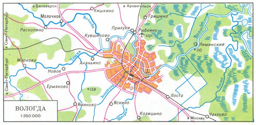 Карта окрестностей Вологды