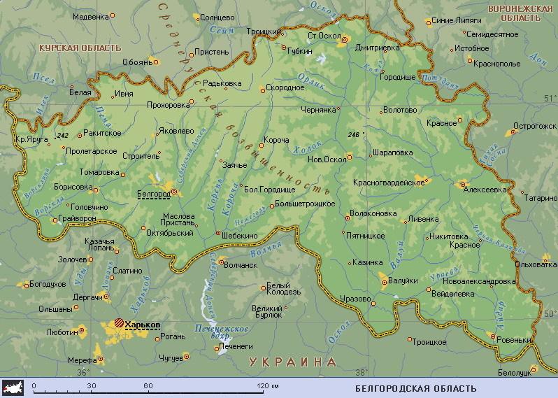 Белгород на карте Белгородской