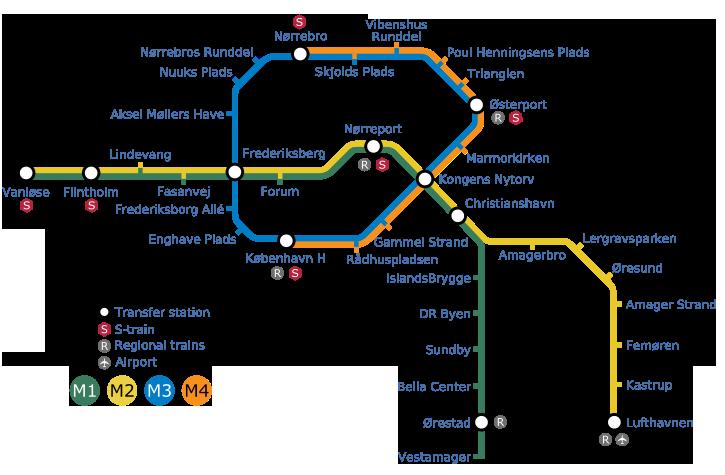 Карта метро Копенгагена (91,64