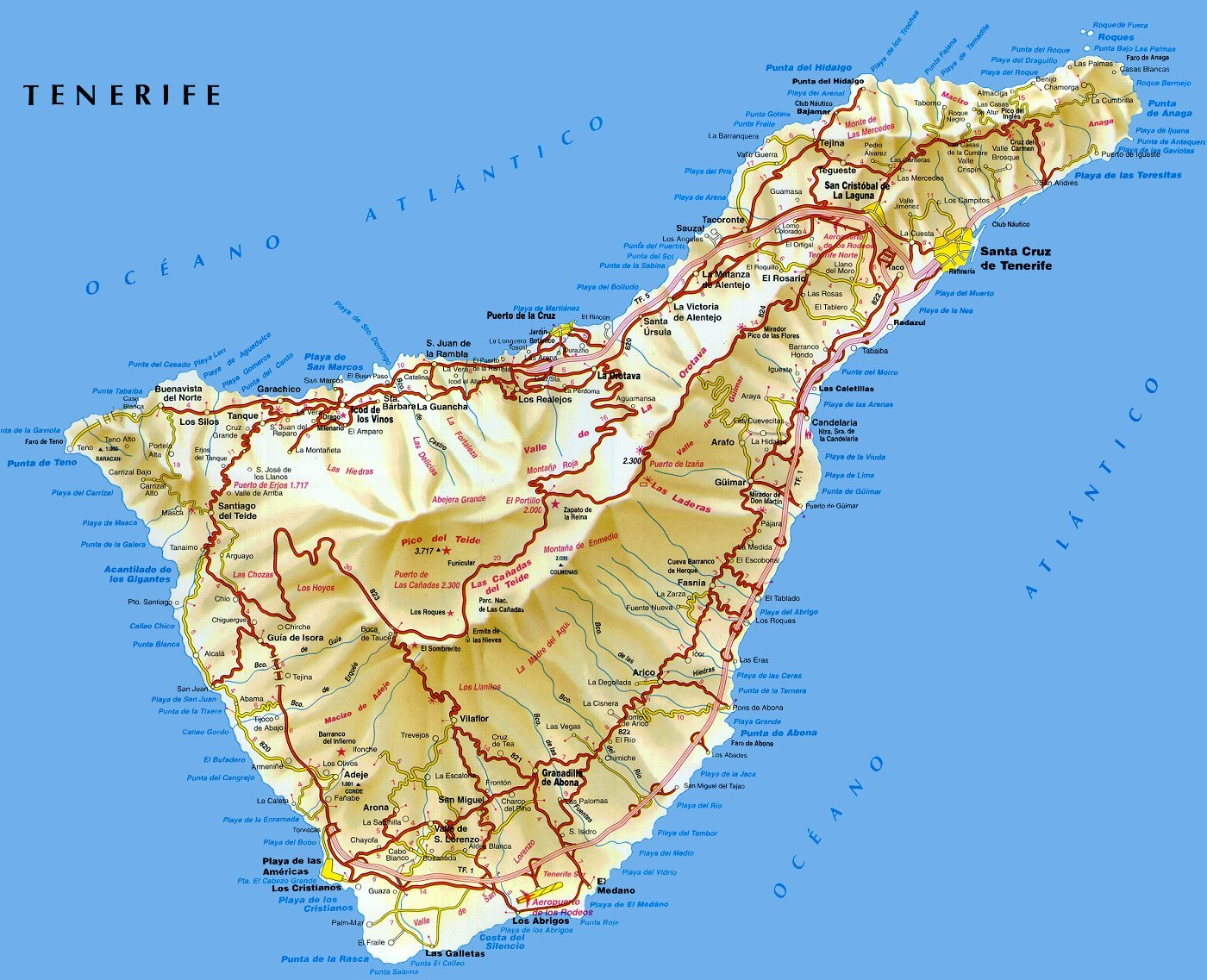 Карта Санта-Крус-де-Тенерифе со спутника - улицы и