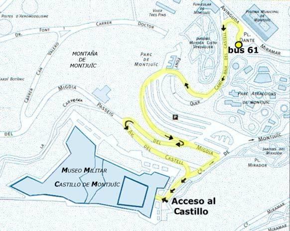 Схема проезда к замку Монжуик