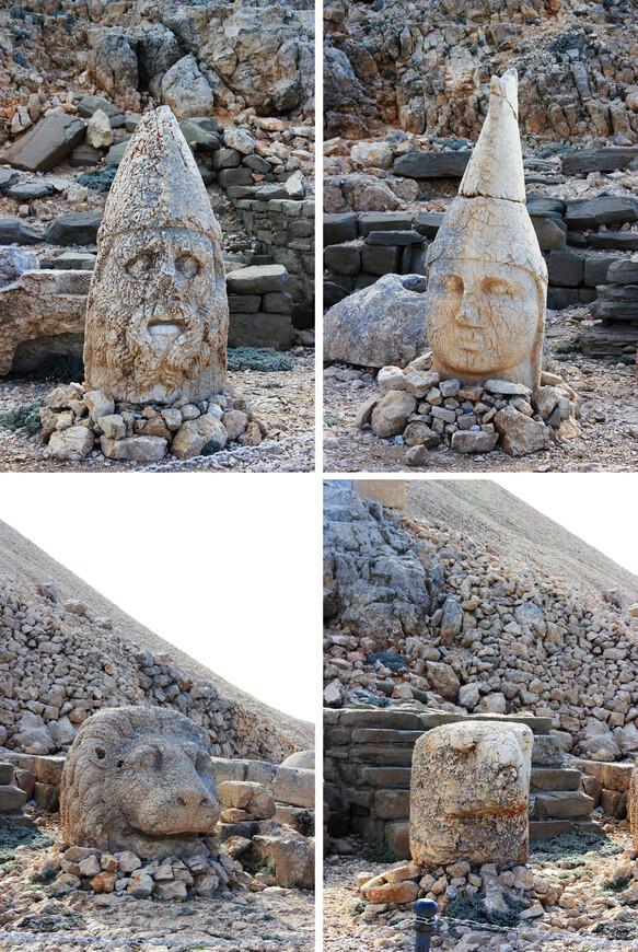 """Сказано, сделано. Начали строить комплекс царя Антиоха. Долго ли коротко ли, но на вершине горы появилось святилище, окружённое статуями под 9 метров высотой. Сегодня эти статуи уже развалились, так что можно наблюдать лишь """"обломки самовластья"""", как говорится. Статуи - это ни много ни мало фигуры богов: Зевса, Апполона, Геркулеса, а также самого царя Антиоха и олицетворение Коммагена.  Неплох был царь, поставил себя на одну ступень с богами :)"""