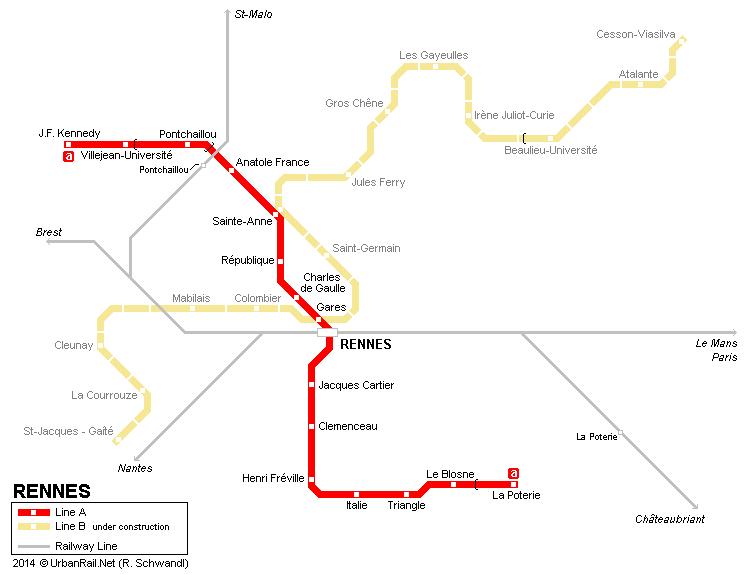 Схема метро Ренна (13,9 Кб)