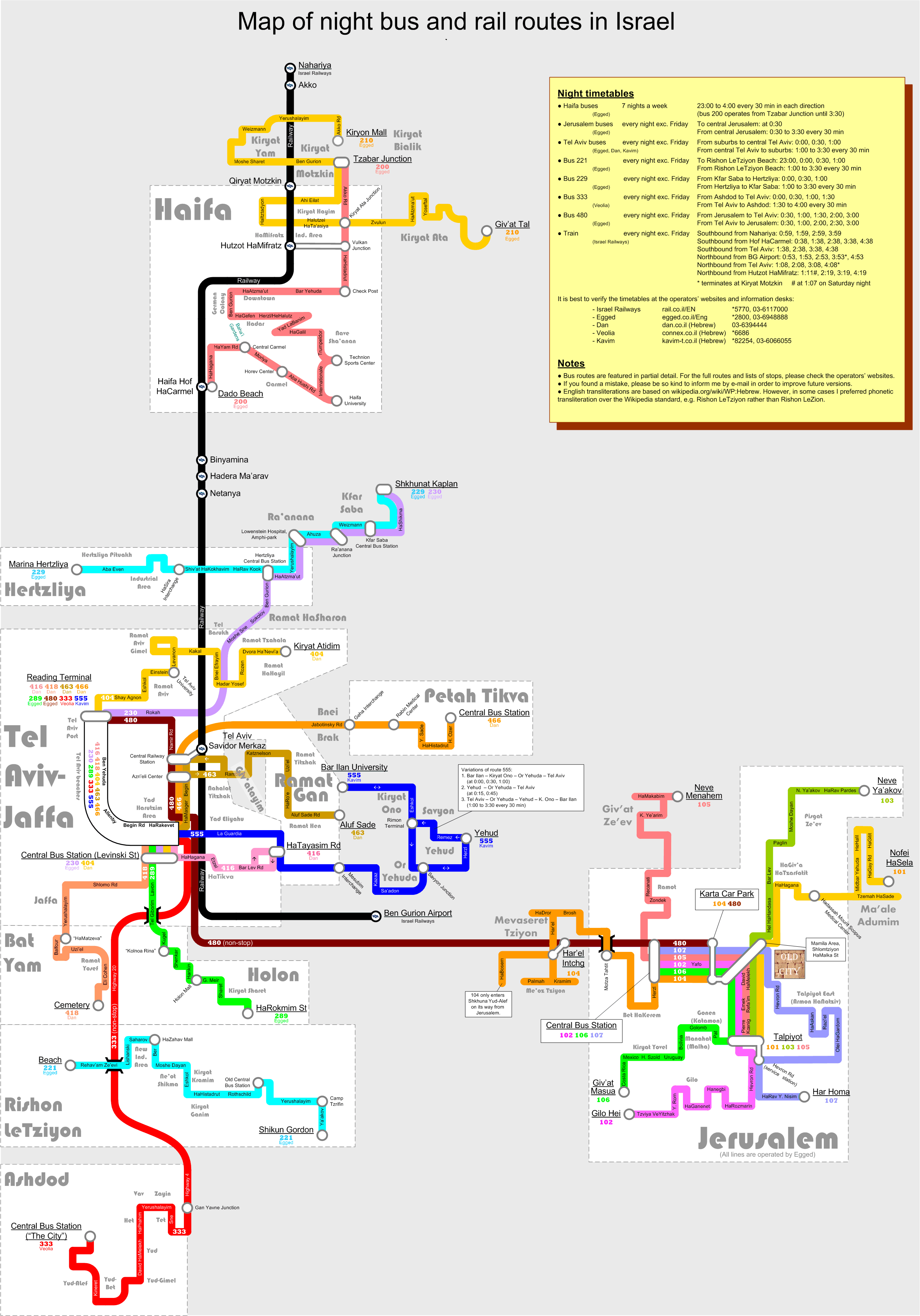 Map of night bus and rail routes in Israel.