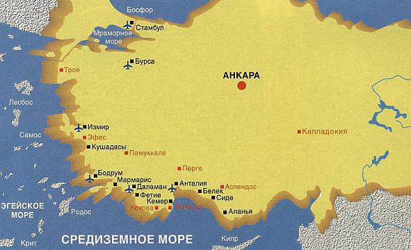 Карта курортов Турции.