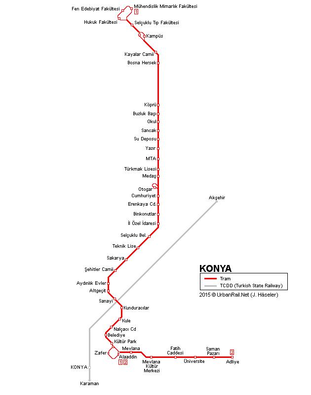 Схема движения трамвая Коньи