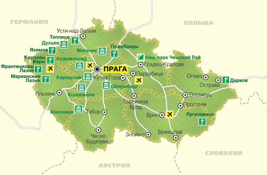 Карта аэропортов Чехии (206.67