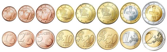 Монеты Евро на Кипре