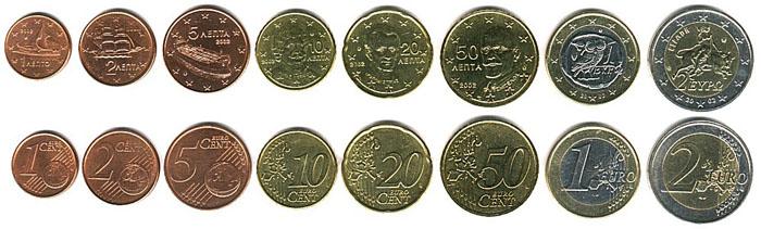 Монеты Евро в Греции