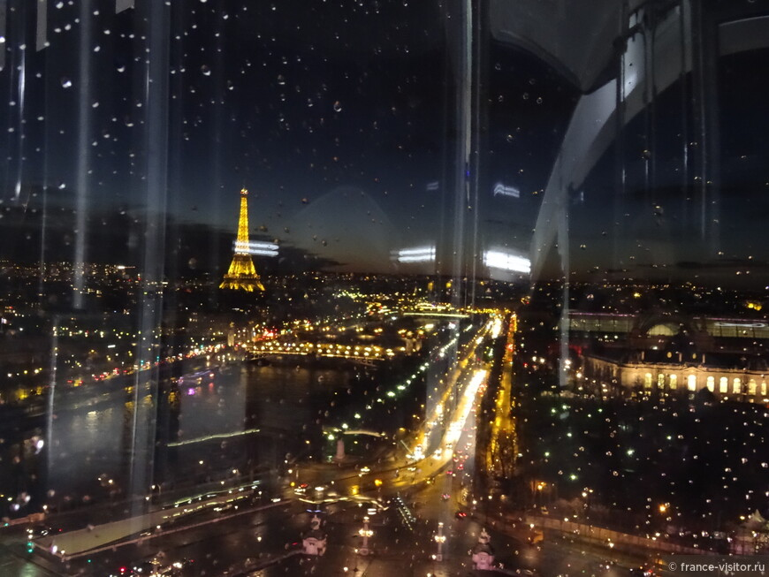 Вид на Елисейские Поля с большого колеса обозрения в Париже