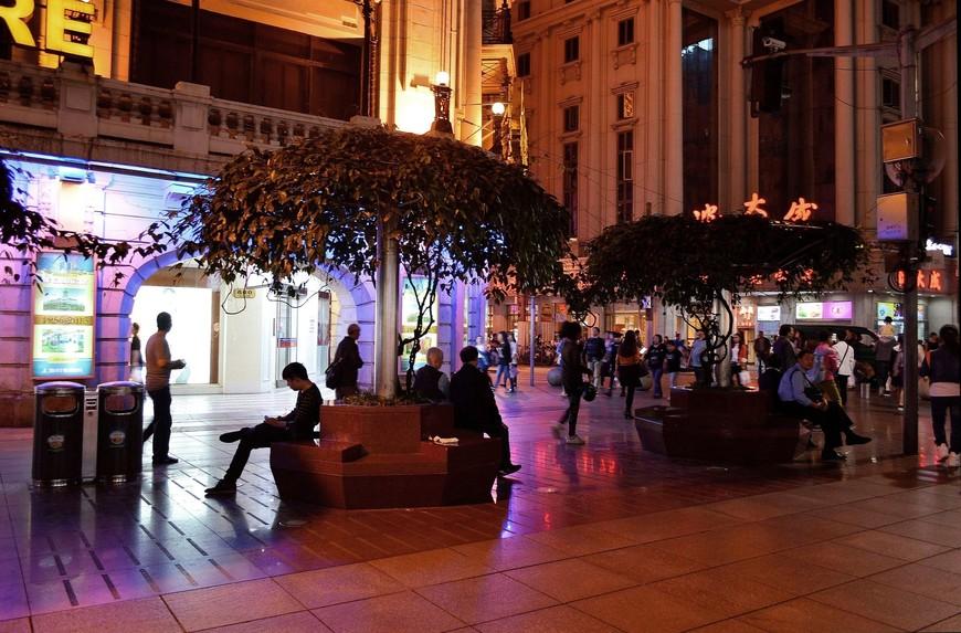 """Характерная особенность Nanjing Road - круглые скамейки из камня, над которыми возвышаются """"зонтики"""" из деревьев"""