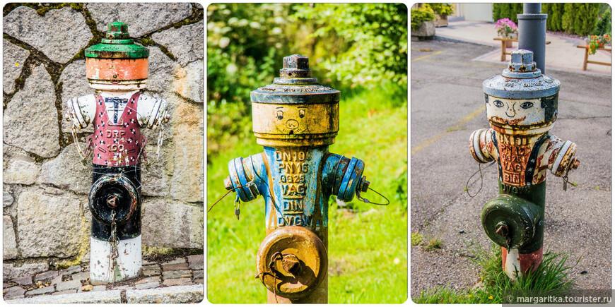 вот такие оригинальные водораспределительные пожарные краны. Каждый из них единственный в своём роде, так как раскрасска ни у одного не повторяется
