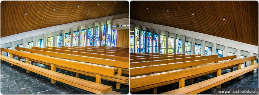 Комментарии к окнам профессора Карла-Хайнца Wienert говрят о том, что это попытки посредством архитектурных решений с использованием цветного эквивалента перевести тему Преображения Христа с объективного представления в мир духовный