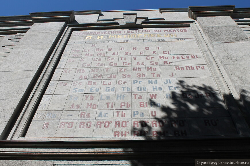 Здесь же рядом — таблица Менделеева (1935 год) на стене дома.