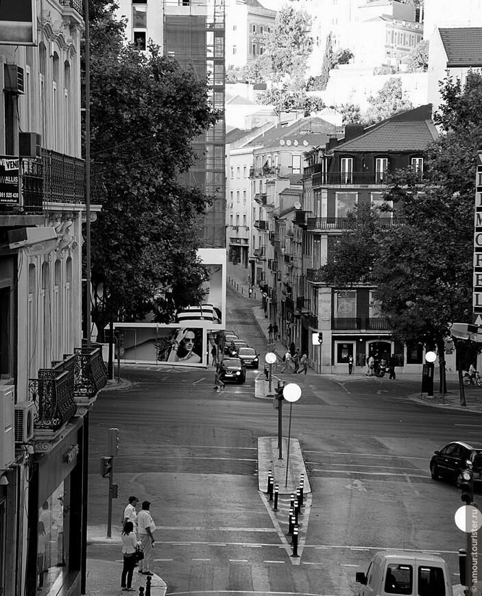 Холмы Лиссабона. Внизу поперек кадра проходит Avenida da Liberdade - Лиссабонские Елисейские Поля с их мощными платанами.