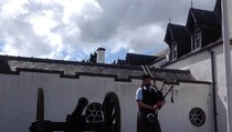 The piper outside Blair Castle, Scotland, 01:30