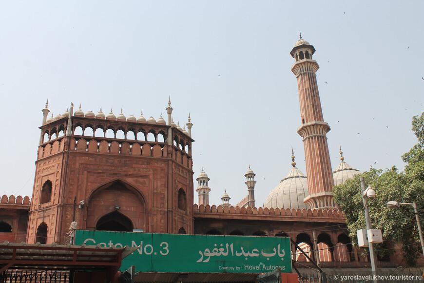 Нас привезли к мечети Джама-Масджид с северной стороны к воротам №3. За фотосъёмку в мечети (включая её внутренний двор) надо заплатить 300 рупий, ещё 100 рупий, чтобы подняться на минарет (мы не поднимались).