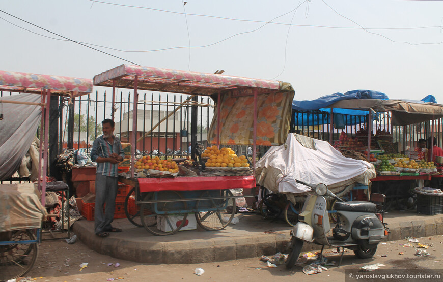 Вот здесь торгуют различными фруктами.