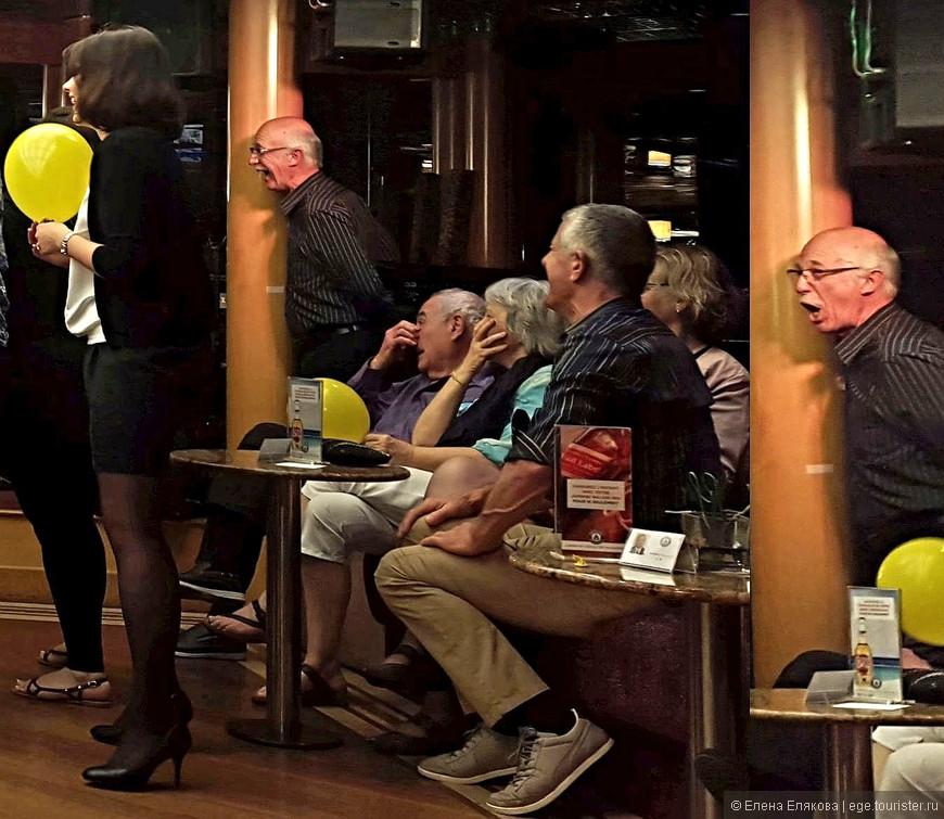 """И играющие в """"Угадай мелодию"""" и наблюдатели были так эмоциональны (особенно мужчина, стоящий у столба), что это, видимо, отразилось и на мне, потому что я подошла к игрокам и попросила обе команды спеть Марсельезу. Тогда мне поднесли микрофон, и пришлось затянуть «Отречемся от старого мира», французы (которые были, в основном, марсельцы) быстро подхватили, так что 4-х строчек, которые я только и помню, мне хватило. Аниматорша была мной ну очень довольна!"""