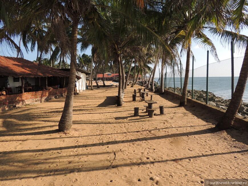 У некоторых отелей береговая линия вся засыпана камнями