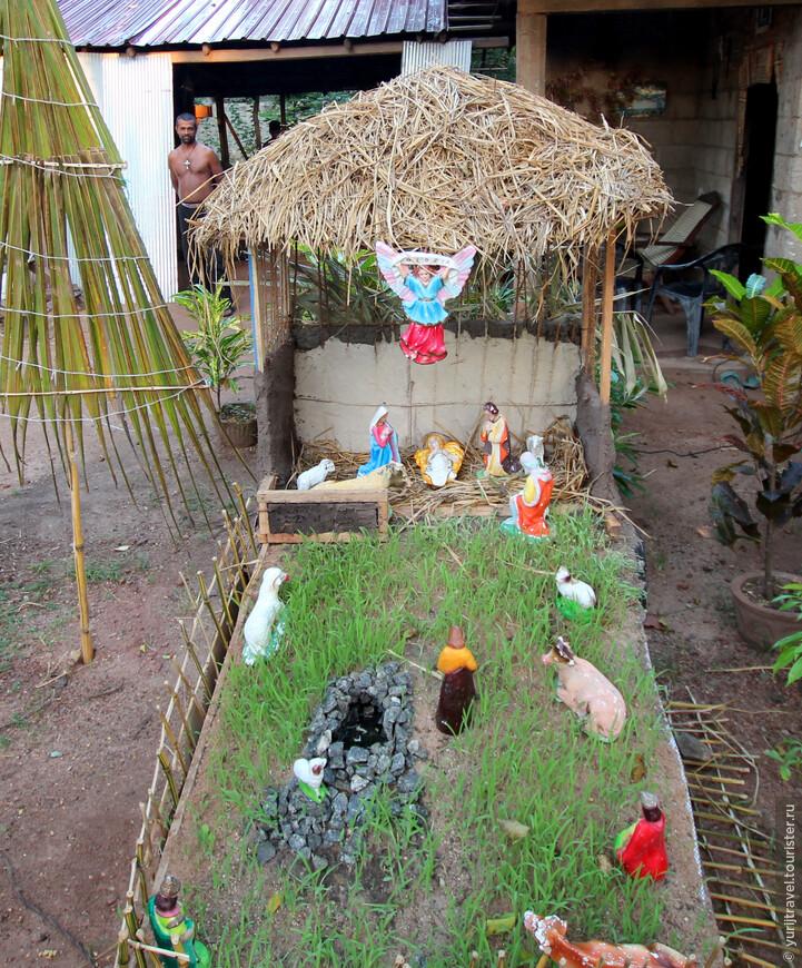 На Шри Ланке много католиков и в канун Рождества у многих домов были выставлены такие рождественские инсталляции