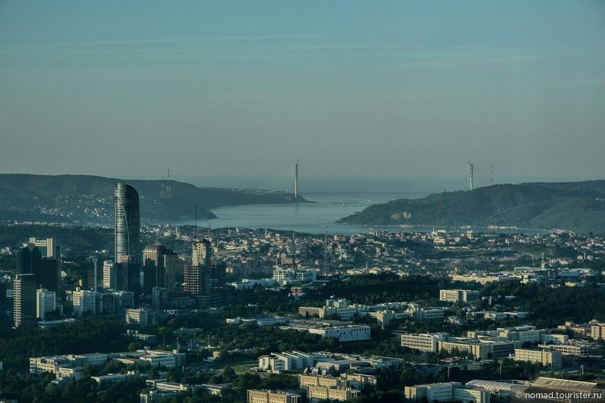 Этот же мост ближе. За ним - Черное море... Чуть левее правой опоры моста на горе видна крепость в Анадолу Кавагы, где мы с вами как-то бывали.. )