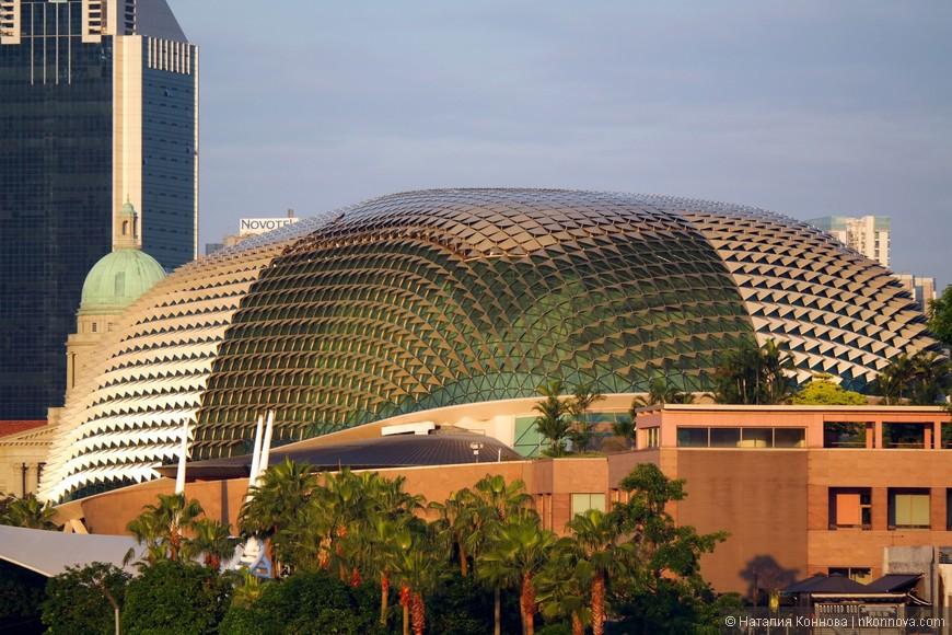 Театр Esplanade - здание в виде двух половинок фрукта Дуриан. За ним сзади виднеется исторический квартал Сингапура. Наиболее впечатляюще здание театра выглядит, конечно, вечером, но в утреннем солнышке тоже вполне.