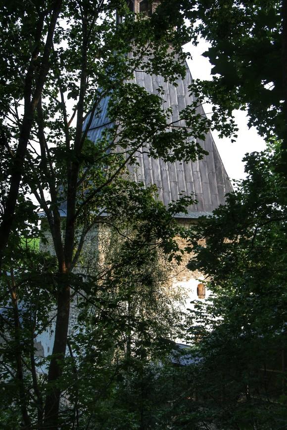 Территория монастыря очень зеленая, сквозь ветки старых лип и елей, с трудом угадываются монастырские постройки