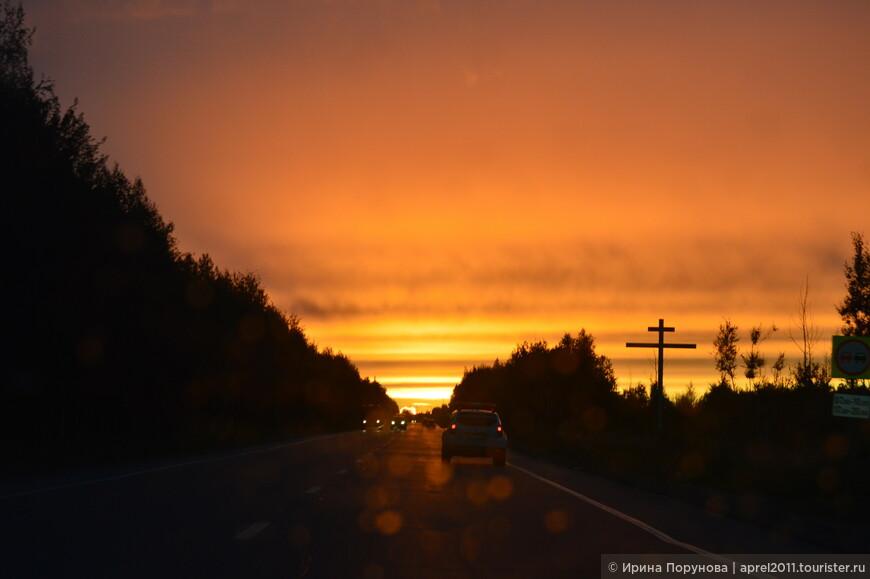 Закат по дороге Нижневартовск - Мегион