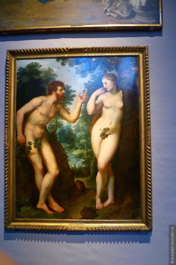 """Одна из ранних картин Рубенса, """"Адам и Ева в Раю"""" (1600), выставлена в мастерской художника."""