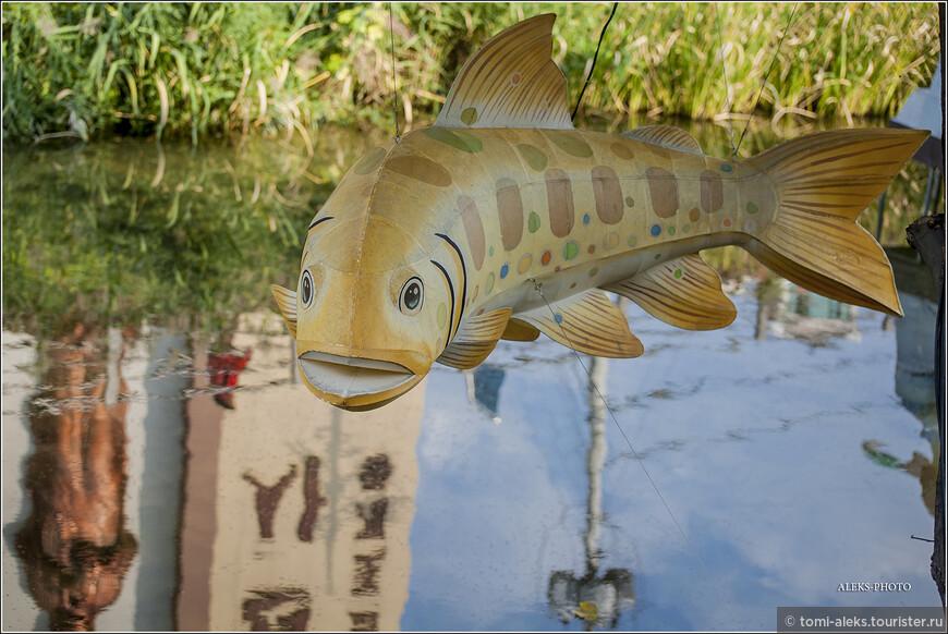 Рыба,парящая над водой ручья. В воде отражается христианский храм. Их в Сувоне очень много, как и повсюду в Южной Корее. Напомню, что мы как раз идем в один из больших соборов, чтобы залезть на смотровую.