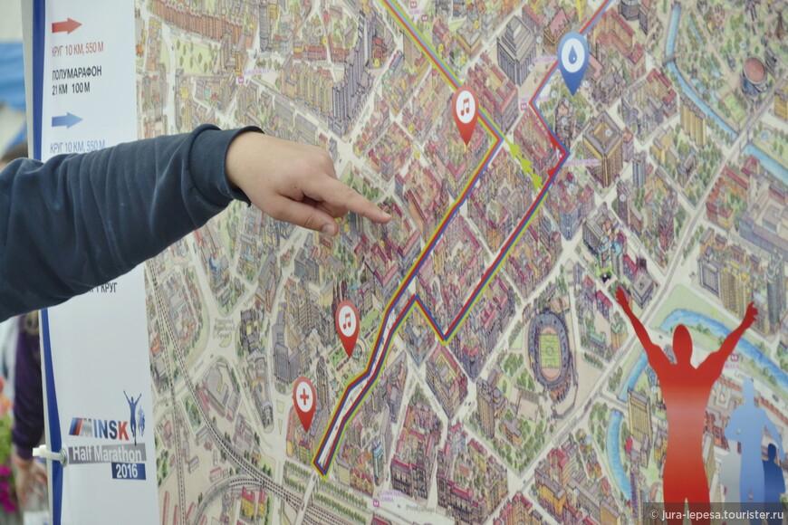 На карте хорошо видно,где по трассе музыкальное сопровождение и скорая медицинская помощь.