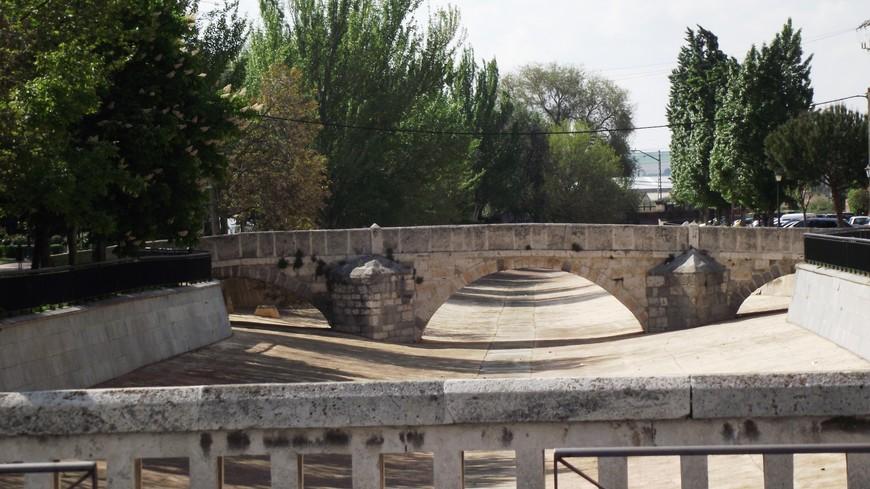 Вид на средневековый мост Хуан де Аламос (Старый мост) от моста Святого Михаила. Это уже в самом городе Медина дель Кампо. Что бы попасть в сам город надо спуститься с холма, на котором стоит замок и пройти подземный тоннель под железной дорогой. Хоть город и имеет очень богатую историю, Смотреть здесь почти не на что.