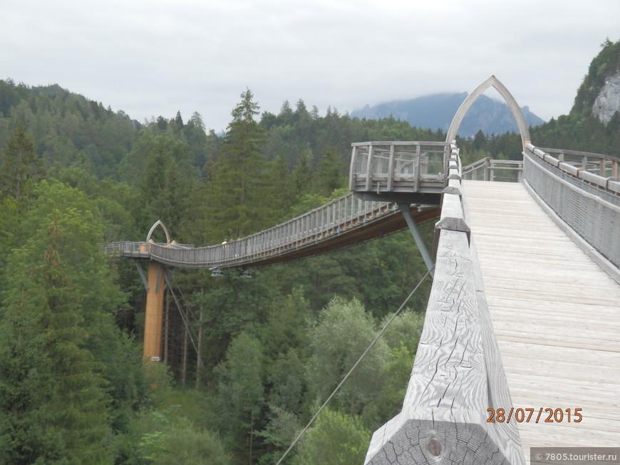 мост по кронам деревьев из Германии в Австрию