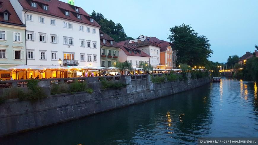 На набережных Любляницы - красивые дома, магазинчики и непрерывный ряд ресторанчиков