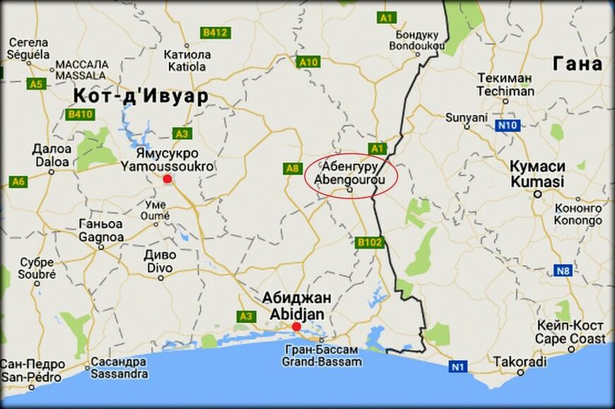 Абенгуру является административным центром района Комоэ. Находится недалеко от границы Ганы.