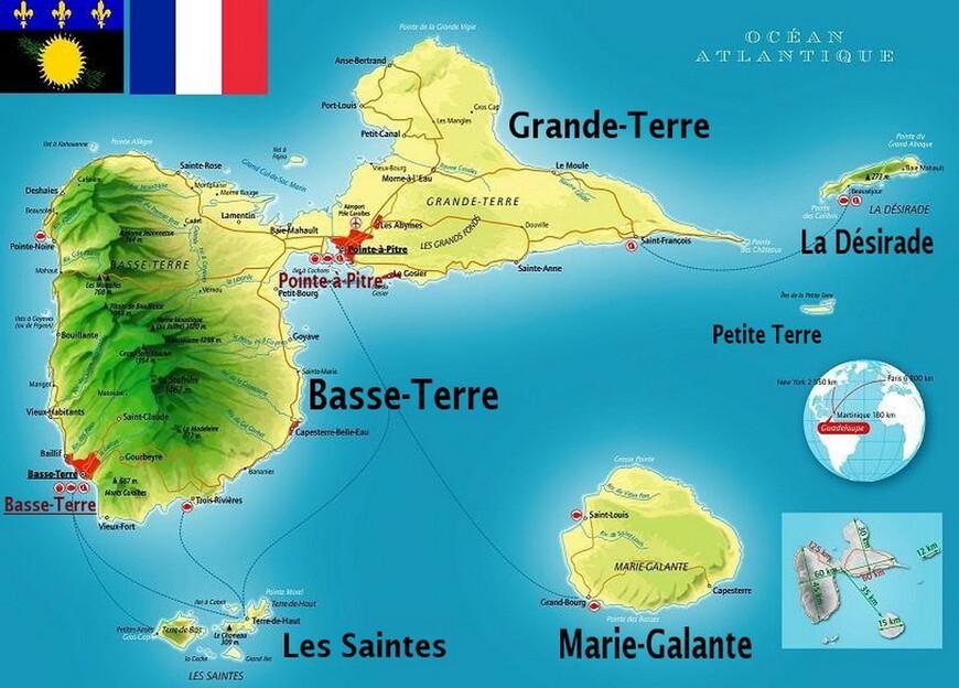 А вы знали, что Гваделупа - это не остров, а архипелаг? А то, что это заморская область Франции?.. Шесть групп обитаемых (Бас-Тер, Гранд-Тер, Мари-Галант, Дезирад, Ле-Сент, Птит-Тер) и десятки необитаемых островов - и составляют в целом Guadeloupe, 97-ой  департамент Франции!