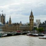 Лондонская классика: здания Парламента, Биг Бэн, Вестминстерский мост через Темзу (вид с колеса обозрения London Eye)