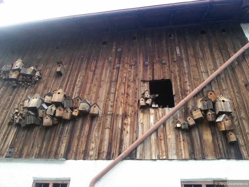 скворечники на фасаде дома в г. Фюссен