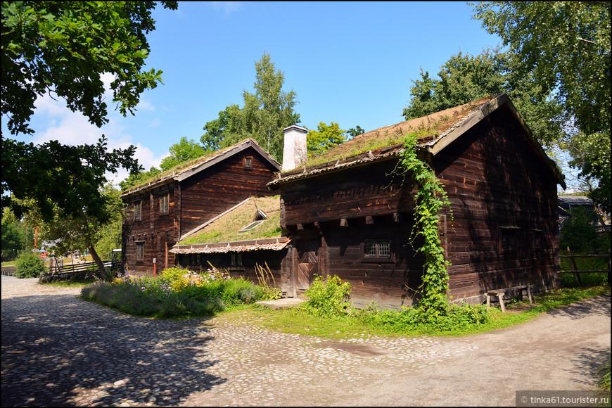 Меня очаровали деревенские домики с зелёными травяными крышами.