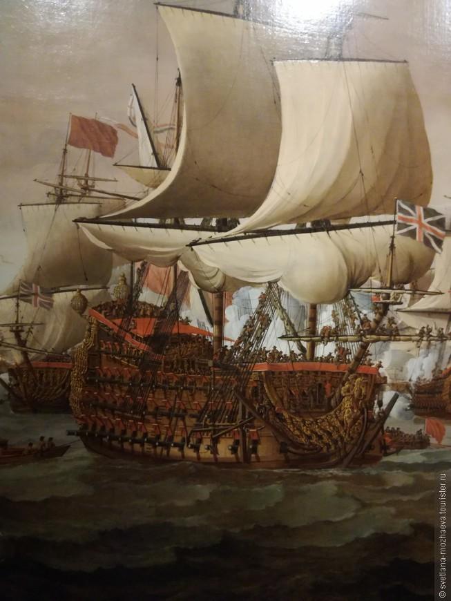 Линкор 17 века. Таких кораблей в английской и голландской эскадре было не более 20, экипаж составлял 1200 человек.