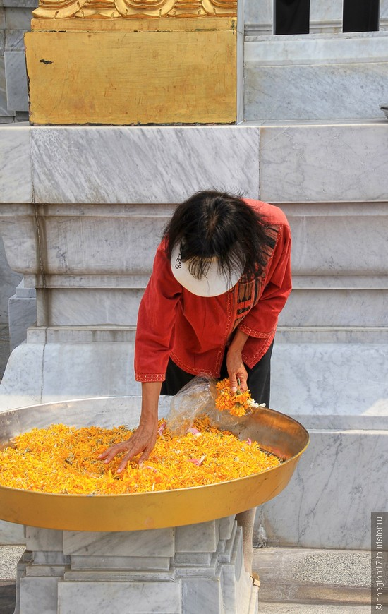 Лепестки золотистых цветов. Из сушат у храма и Золотой Будда благоухает этими лепесками.