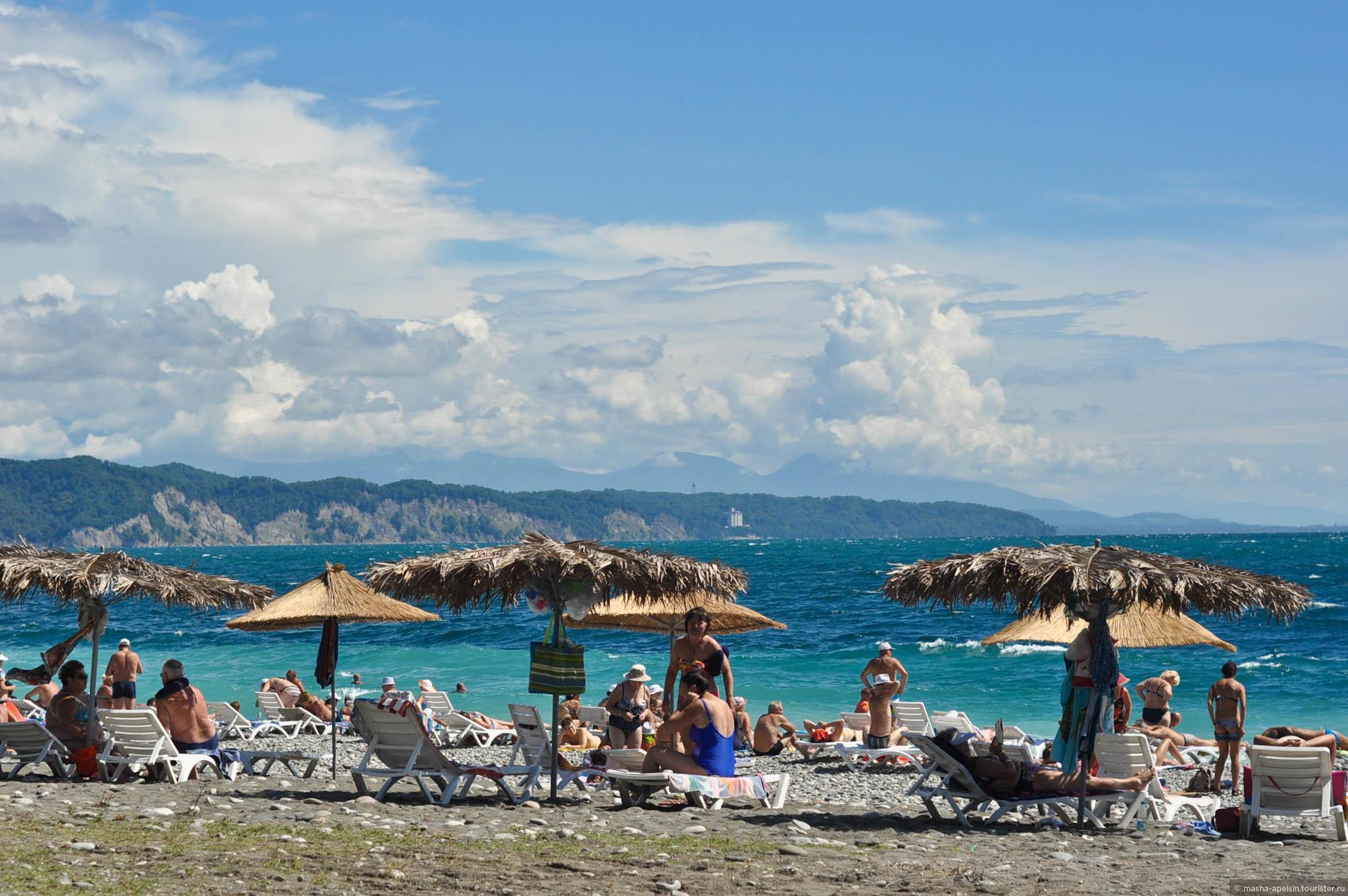 Абхазия пляжа и набережной