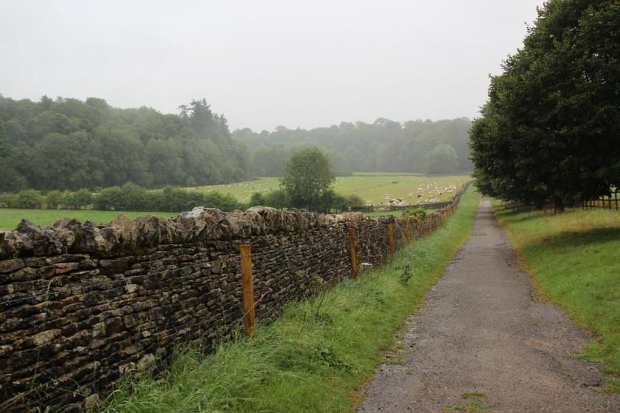 """Типичный забор из """"сухого камня"""" (drystone wall). Большинство этих заборов, а их длина по всей Великобритании исчисляется многими километрами, было построено в 18 и 19 веках без цемента. Они до сих пор используются для раздела фермерских владений и ограды пастбищ, а также как садовые изгороди."""
