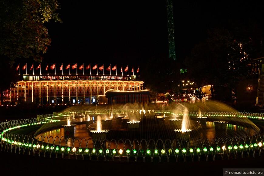 ... подсвеченные фонтаны...