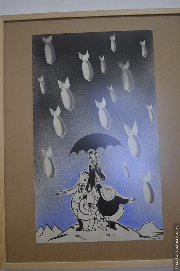 В фойе организуются тематические выставки. Одна из работ.