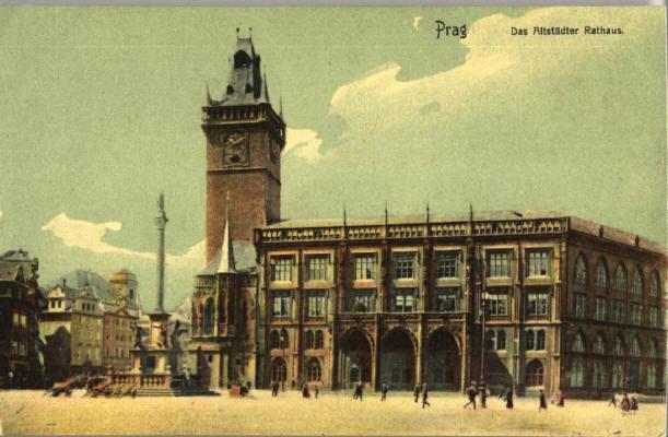 Вот так когда-то выглядела Староместкая площадь с колонной Деве Марии и новоготической ратушей 1865 года.